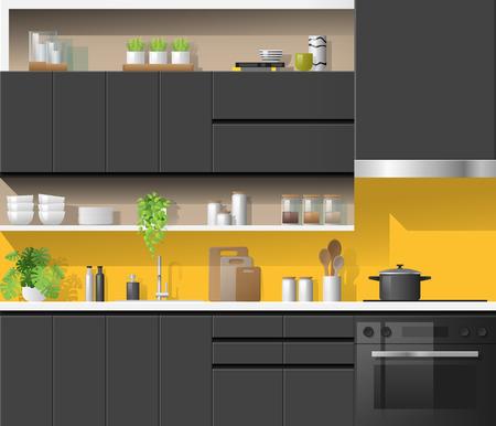 Modern black kitchen with yellow background , vector , illustration Ilustração