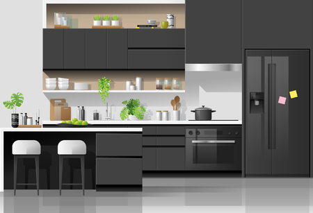 Interior background with modern black and white kitchen , vector , illustration