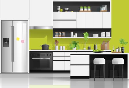 Interieur achtergrond met moderne zwart-witte keuken, vector illustratie Vector Illustratie
