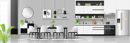 Modern black and white house interior background with kitchen and dining room combination , vector , illustration