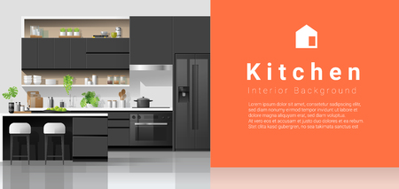 Modern black and white kitchen with colorful wall background , vector , illustration Stock Illustratie