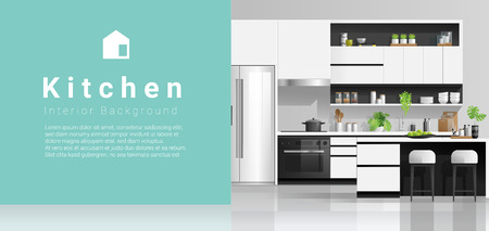 Modern black and white kitchen with colorful wall background , vector , illustration Banque d'images - 125060153