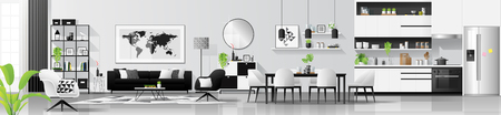 Modern black and white interior background with living room , dining room and kitchen combination , vector , illustration