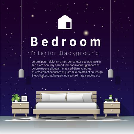 Modern bedroom with night sky wallpaper background , vector , illustration