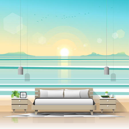 Modern bedroom with tropical beach wallpaper background , vector , illustration