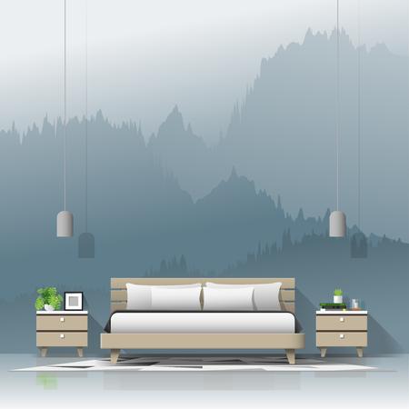 Modern bedroom with mountain landscape wallpaper background , vector , illustration
