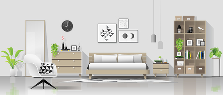 Interior background with modern cozy bedroom , vector , illustration Illustration