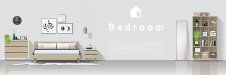 Interior background with modern cozy bedroom , vector , illustration 일러스트