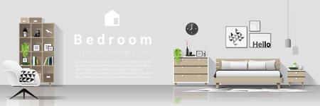 Interior background with modern cozy bedroom , vector , illustration Ilustração