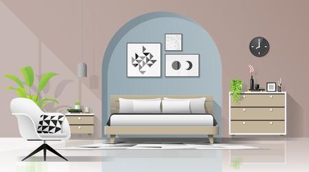 Interior background with modern cozy bedroom , vector , illustration Illusztráció