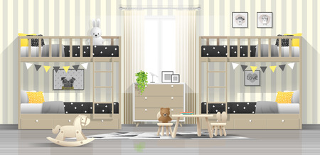 Interior background of modern kids bedroom with wooden bunk beds , vector , illustration