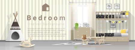 Interior background of modern kids bedroom with wooden bunk bed , vector , illustration