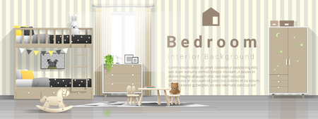 Interior background of modern kids bedroom with wooden bunk bed , vector , illustration
