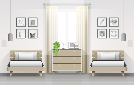 Interior background of modern bedroom with twin beds , vector , illustration