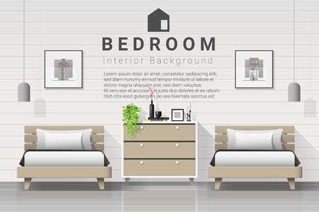 Interior background of modern bedroom with twin beds , vector , illustration Banque d'images - 125060160