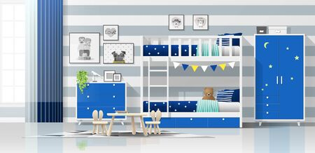 Interior background of modern blue kids bedroom with bunk bed , vector , illustration