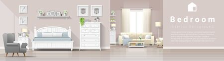 Modern country house interior background with bedroom and living room combination , vector , illustration