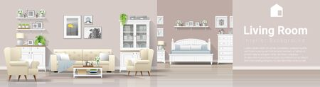 Modern country house interior background with living room and bedroom combination , vector , illustration Illustration