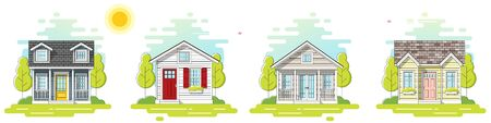 Set of small houses and beautiful rural landscape day scene background in flat line art style , vector , illustration