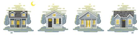Set of small houses and beautiful rural landscape night scene background in flat line art style , vector , illustration