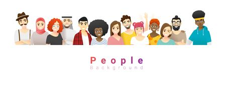 Diversity concept background , group of happy multi ethnic people standing together , vector , illustration Illustration