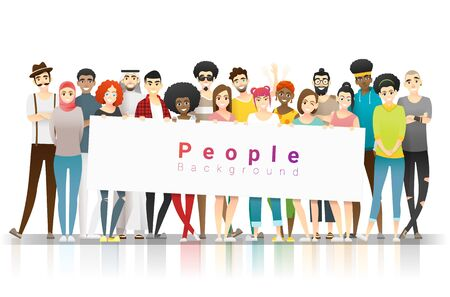 Diversity concept background, group of happy multi ethnic people standing together and holding empty banner, vector, illustration