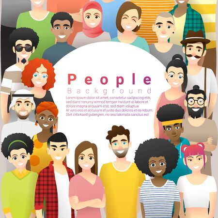 Diversity concept background, group of happy multi ethnic people standing together, vector, illustration Stock Illustratie