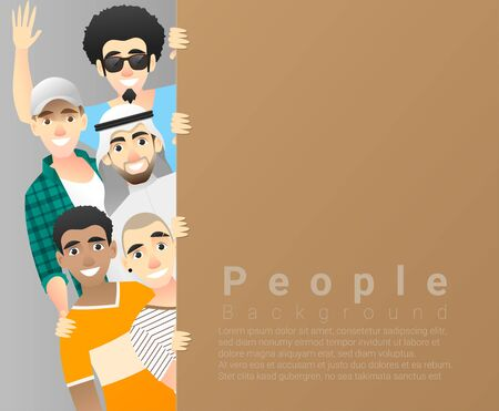 Diversity concept background, group of happy multi ethnic men standing behind empty colorful board, vector, illustration Illustration