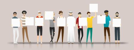 Group of young men holding empty boards , vector , illustration