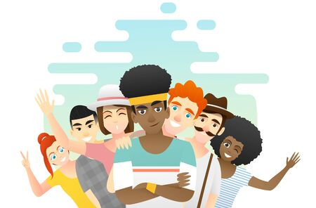 Friendship concept background with group of young friends having fun together, vector, illustration Stock Illustratie