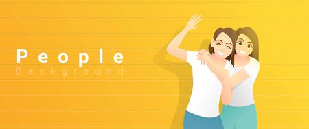 Friendship concept with two young happy women hugging and standing on yellow background, vector, illustration Stock Illustratie