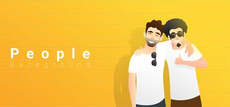 Friendship concept with two young men having fun and standing on yellow background, vector, illustration
