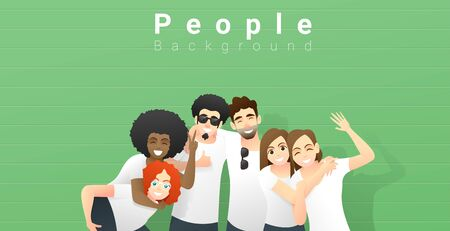 Friendship concept with group of young friends having fun and standing together on green wall background , vector , illustration 矢量图像
