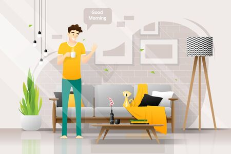 Happy young man holding a cup of coffee and saying good morning to his cat in living room , vector , illustration Ilustração