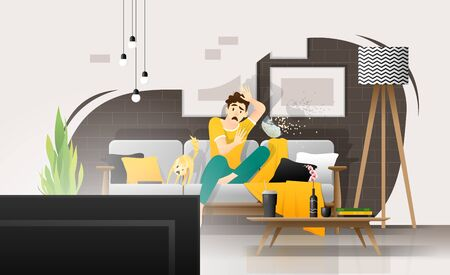 Terrified young man watching scary movie on television in living room, relaxing weekend at home ,vector , illustration