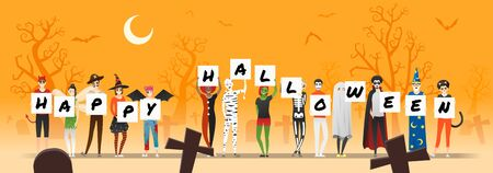 Group of teens in Halloween costume concept holding boards with text HAPPY HALLOWEEN on graveyard background , vector, illustration