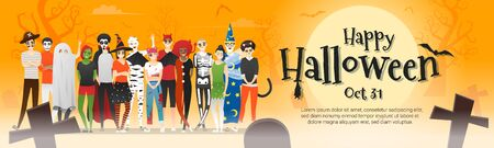 Happy Halloween , group of teens in Halloween costume concept standing together on graveyard background , vector, illustration 矢量图像
