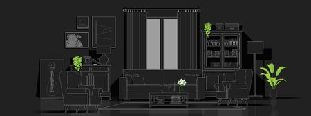 Interior background with modern living room in black and white line sketch style , vector , illustration