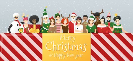 Merry Christmas and Happy New Year, group of teens in Christmas costume concept standing together in gift box , vector, illustration Ilustracja