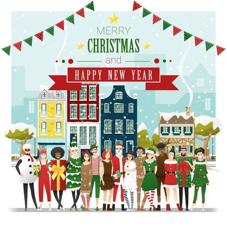 Merry Christmas and Happy New Year, group of teens in Christmas costume concept standing together in front of Winter town background , vector, illustration Ilustracja