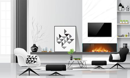 Modern living room interior background with fireplace and furniture in black and white theme , vector , illustration