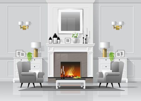 Sfondo interno soggiorno di lusso con camino e mobili in stile classico, vettore, illustrazione