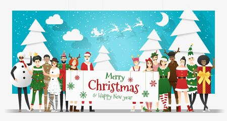 Group of teens in Christmas costume concept holding board with text Merry Christmas and Happy New Year , vector, illustration