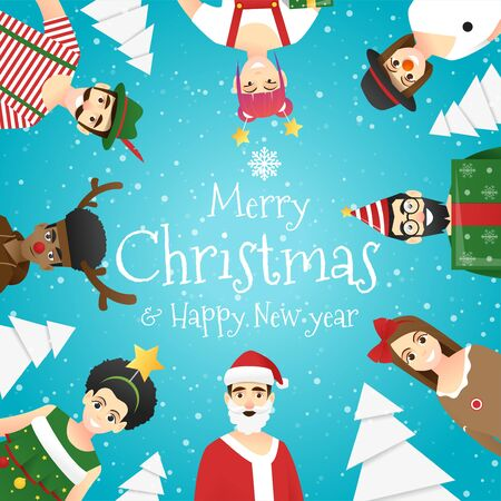 Merry Christmas and Happy New Year, group of teens in Christmas costume concept , vector, illustration