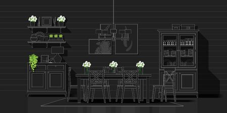 Interior design with modern dining room in white line sketch on black background , vector , illustration 矢量图像