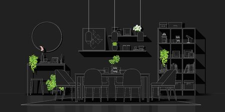 Interior design with modern dining room in white line sketch on black background , vector , illustration 写真素材 - 134266885