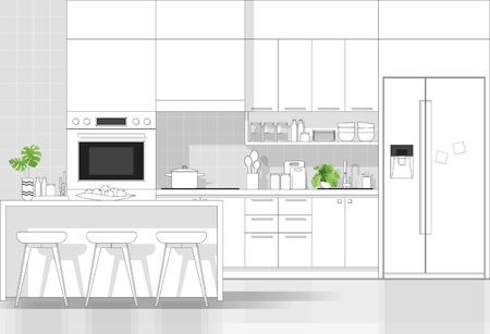 Interior design with modern kitchen in black line sketch on white background, vector, illustration 矢量图像