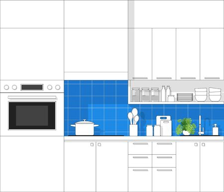 Interior design with modern kitchen in black line sketch on colorful background
