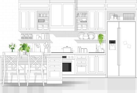 Interior design with modern kitchen in black line sketch on white background