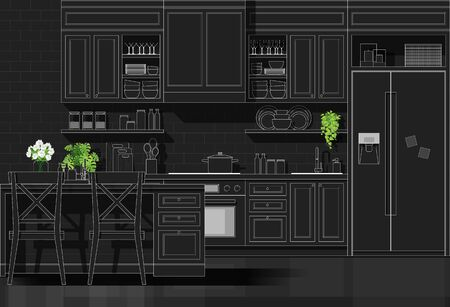 Interior design with modern kitchen in white line sketch on black background , vector , illustration